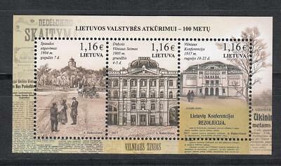 Lietuva Litauen 2017  MNH** Mi.1244-46 Bl.55 Restauration of Lithuania