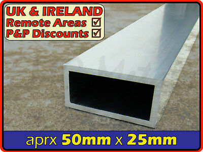 Aluminium Rectangular Tube ║ 50mm x 25mm ║ box section,profile,pipe,rectangle