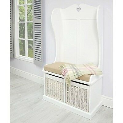 Entryway Storage Monk Bench Hall Seat Cabinet Drawer Baskets Cushion White Wood
