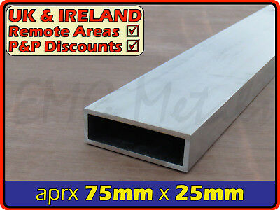 Aluminium Rectangular Tube ║ aprx 75mm x 25mm ║ box section,profile,pipe,alloy