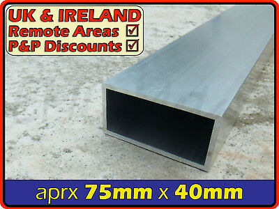 Aluminium Rectangular Tube ║ aprx 75mm x 40mm ║ box section,profile,pipe,alloy