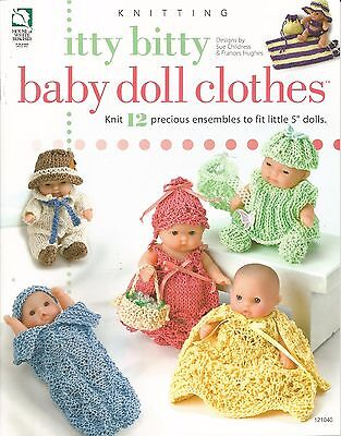 """Itty Bitty Baby Doll Clothes Knitting Patterns 12 Ensembles for 5"""" Dolls NEW"""