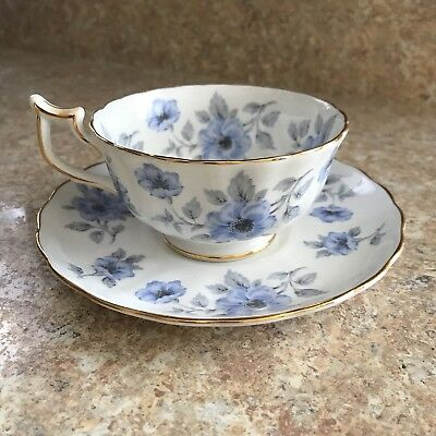 Vintage ROYAL CHELSEA Tea Cup & Saucer | Gold & Blue Floral | English Bone China
