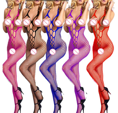 UK SELLER Crotchless Open crotch Body Stocking Fish Net Tear Off  Lingerie