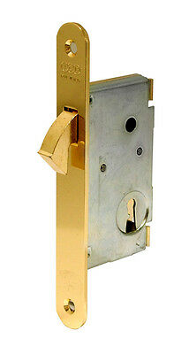 LOCK AGB 27 19/32in 50 THREAD SLIDING DOOR BRASS B/ROUND WITH KEY