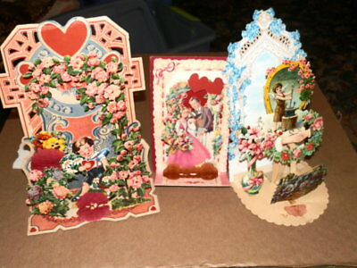 #3141,Lot of THREE Very Large Fold Out Superb Vintage Valentine
