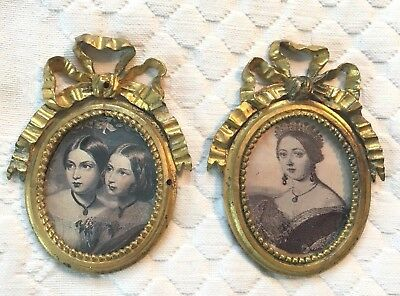 Pair of Antique Miniature Ornate French Brass Oval Frames