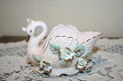 Vintage Ucagco or Napco Pretty Pink & Gold Flowered Small Swan Vase