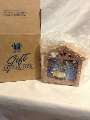 Vintage Avon THE FIRST CHRISTMAS LIGHT UP ORNAMENT Nativity Scene NOS NIB Manger