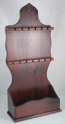 New Walnut Wood Wall Display Rack,Holder Case Holds 13 Collector Spoons