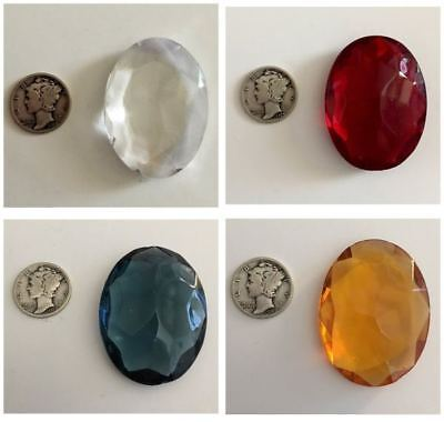 Vintage 40x30mm Faceted Glass Jewels Stained Glass - Four colors available!
