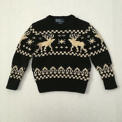 Polo Ralph Lauren Size 3T/3 Toddlers Black Ivory Reindeer Chunky Knit Sweater
