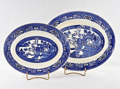 "HOMER LAUGHLIN BLUE WILLOW MATCHED PAIR (2) OVAL PLATTERS 11"" & 13"" Vintage 1949"