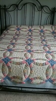 "Antique Handmade Quilt 84"" x 94"" - Heirloom Double Wedding Ring Pattern  Full sz"