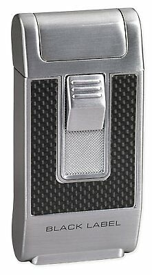 Black Label Bentley Cigar Lighter Chrome and Black - Single Torch - New