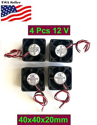 4Pcs 12V 5V Gdstime 40mm 40x40x20mm 4020S 2P Fan DC Duct Ventilation Cooler Fan