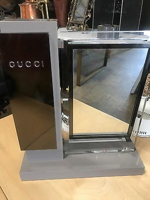 Gucci Lucite  Counter Top Display Mirror Clear And Grea