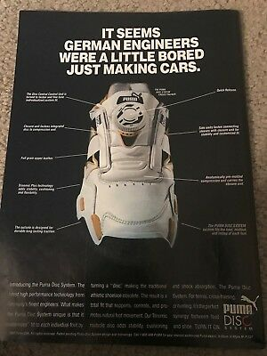 Vintage 1992 PUMA DISC SYSTEM Sneakers Poster Print Ad 1990s RARE