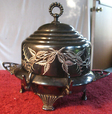 Antique James W. Tufts Quad Silverplate Butter Dish Domed Lid Etched Floral 2047