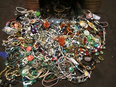 Huge Lot Of Vintage Antique Scrap Junk Jewelry Lot Beads Arts And Crafts
