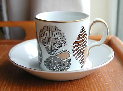 """Fitz & Floyd For Neiman Marcus China 2 3/8"""" Seashells Expresso Cup & Saucer"""