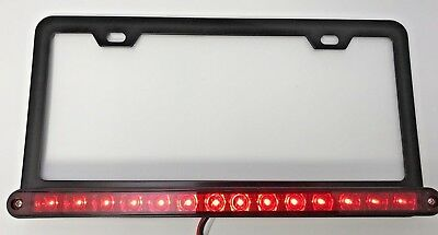 Red LED Bar License Plate Frame w/ Third Brake Light Function (Metal)
