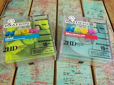 "LOT 20 Imation Neon MAC Formatted 2 HD 1.4 MB 3.5"" Diskettes 10 NEW NIB Computer"