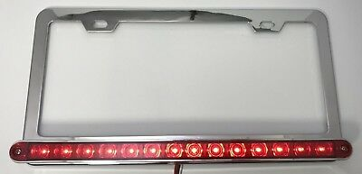 Red LED Bar Chrome License Plate w/ Third Brake Light Function (Metal)
