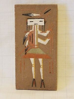 "Genuine Native American NAVAJO SAND PAINTING ""Canal God"" by Lei"