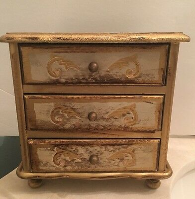 Vintage Italian Florentine Tole Gold Gilt Jewelry Box 3 Drawer-musical