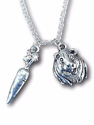 Guinea Pig and Carrot Charm Pendant Necklace Silver - All Proceeds to GP Rescue