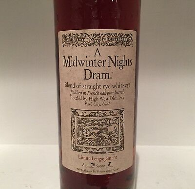 "High West A Midwinter Night's Dram Rye Whiskey ""Empty"""
