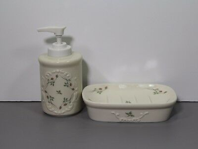 One Rose Manor Soap Dispenser and Soap Dish - Lenox