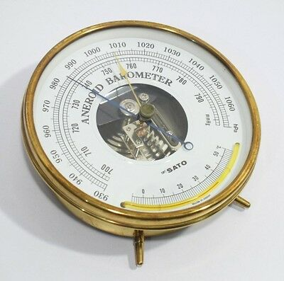 skSATO  Aneroid Barometer with Glass Thermometer vintage Made in Japan