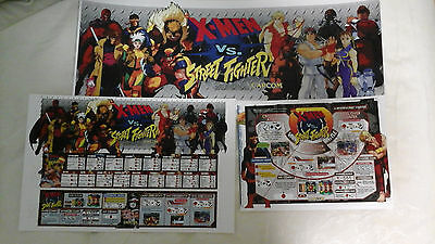 (BACKLIT) CAPCOM X-Men vs Street Fighter Arcade Marquee Insert Art set CPS2