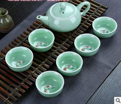 7pcs/lot Chinese tea set green porcelain tea pot tea cups fish set