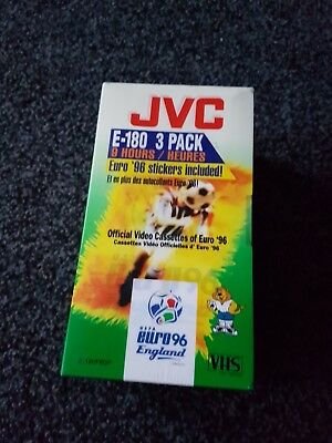 vintage jvc vhs sealed 3 pack official cassettes of euro 96 inc euro 96 stickers