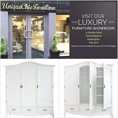 French Style White Painted Rochelle Large Triple Wardrobe Bedroom Furniture