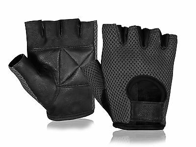 FINGERLES LEATHER BUS DRIVING WEIGHT LIFTING CYCLING GLOVE FASHION TRAINING GYM