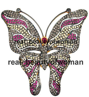Antique Style 4.84ct Rose Cut Diamond Mix Stone .925 Silver Butterfly Brooch Pin