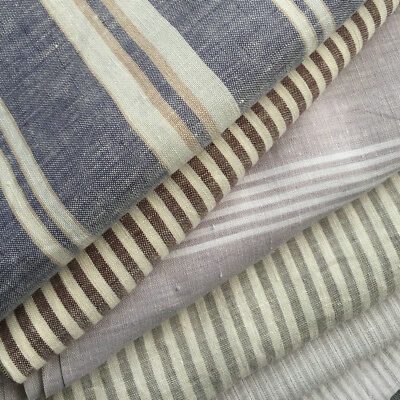 """100% Pure French Striped Linen Fabric 110"""" Yarn-dyed Flax Fabric half meter"""