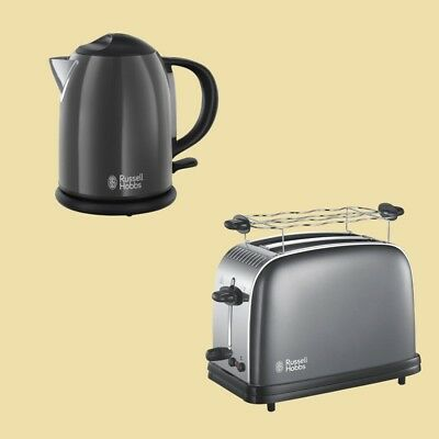 Russell Hobbs Colours Plus+ Storm Grey Wasserkocher 20192-70 + Toaster 23332-56