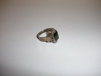 Vintage Silver tone Ring with Black stone, size 6.5 Adjustable