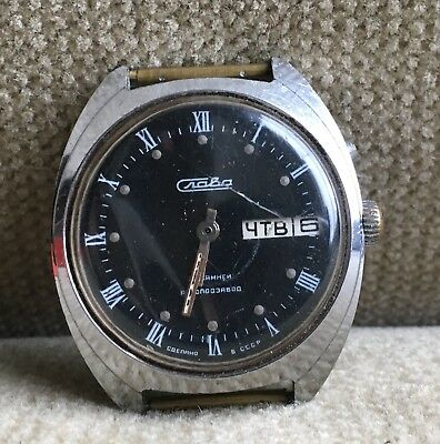 Slava Automatic 38 mm Day/Date  Armbanduhr Russland 70er Jahre