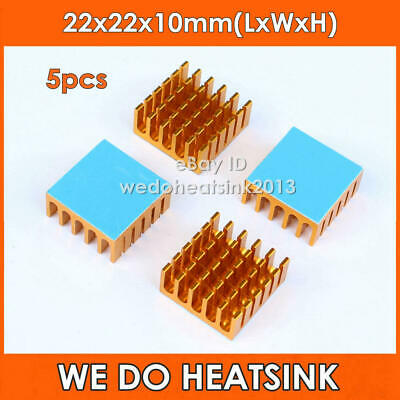 5pcs Aluminum 22x22x10mm Radiator Gold Heatsink Cooler With Thermal Pad For CPU