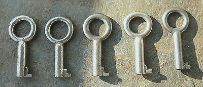 Five Antique Barrel Keys for Antique Hat Box and Other Luggage