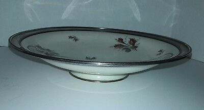 Vintage Rosenthal Selb- Germany Moss Rose Footed Serving Platter - Sterling