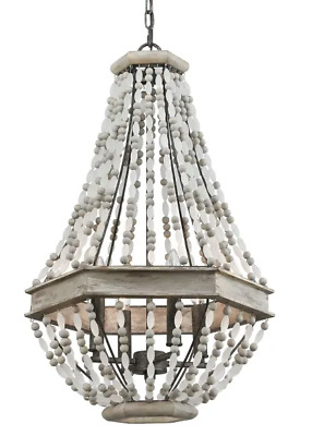 XL White Wood Beaded French Modern Farmhouse Anthropologie Style Chandelier