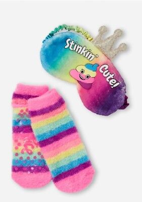 NWT Justice Girl's 'STINKIN' CUTE' Emoji Crown Eye Mask & Slipper Socks Set!