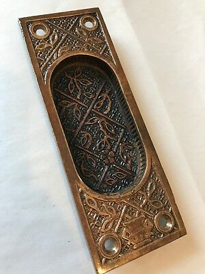 Antique Arts Craft Deco Victorian Cast Brass Bronze Pocket Barn Door Pull Plate